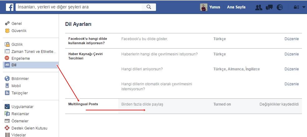 dil seçeneği - facebook - resimli anlatım